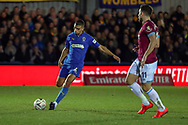 AFC Wimbledon defender Tennai Watson (2) passing the ball during the The FA Cup match between AFC Wimbledon and West Ham United at the Cherry Red Records Stadium, Kingston, England on 26 January 2019.