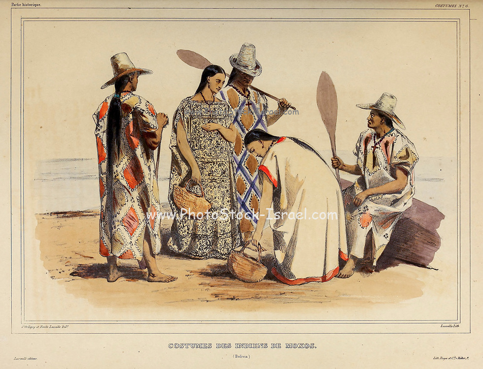 Costumes of the Indians of Moxos, Bolivia Hand sketched From the book 'Voyage dans l'Amérique Méridionale' [Journey to South America: (Brazil, the eastern republic of Uruguay, the Argentine Republic, Patagonia, the republic of Chile, the republic of Bolivia, the republic of Peru), executed during the years 1826 - 1833] 3rd volume By: Orbigny, Alcide Dessalines d', d'Orbigny, 1802-1857; Montagne, Jean François Camille, 1784-1866; Martius, Karl Friedrich Philipp von, 1794-1868 Published Paris :Chez Pitois-Levrault et c.e ... ;1835-1847