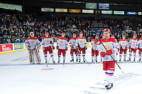 KELOWNA, CANADA - NOVEMBER 9: Artur Lauta #23 of Team Russia skates to accept the player of the game award at the end of the game against the Team WHL on November 9, 2015 during game 1 of the Canada Russia Super Series at Prospera Place in Kelowna, British Columbia, Canada.  (Photo by Marissa Baecker/Western Hockey League)  *** Local Caption *** Artur Lauta;