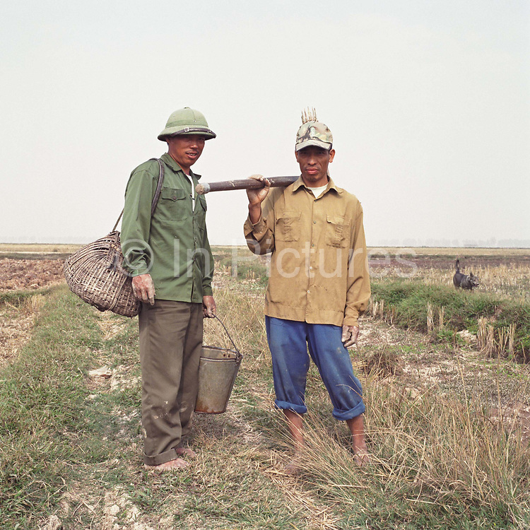 A portrait of two rat catchers in a rice field in Vinh An village which specialises in rat catching, Hung Yen province, Vietnam. The process of catching rats involves a dog to sniff the rat holes to see if any are there and a bamboo trap placed down the hole to catch them when they try to escape and a lot of digging. Up to 20 rats can be caught from a single hole. The rat catchers then remove the rats canine teeth to stop them biting and place them alive in a basket. They are killed and cooked at home and are a special dish in this area, particularly for weddings.