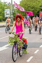 © Licensed to London News Pictures. 09/06/2019. Brighton, UK. Members of the public take part in the annual World Naked Bike Ride event in Brighton and hove. Participants ride in the nude to celebrate cycling and the human body while protesting against oil dependency, fossil fuels, car culture and climate change. Photo credit: Hugo Michiels/LNP
