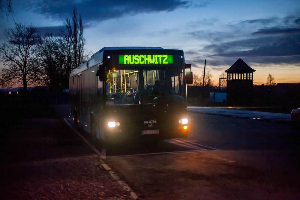 Public bus transport at the Auschwitz Birkenau Nazi concentration camp gate. It is estimated that between 1.1 and 1.5 million Jews, Poles, Roma and others were killed in Auschwitz during the Holocaust in between 1940-1945.