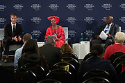 Oliver Cann, Head of Media Content World Economic Forum, Elsie S. Kanza, Head of regional strategies, Africa; Member of the executive committee World Economic Forum, Nhlanhla Musa Nene, Minister of Finance of South Africa at the press conference held in Johannesurg by The World Economic Forum on the 28th of June 2018. Image by Greg Beadle