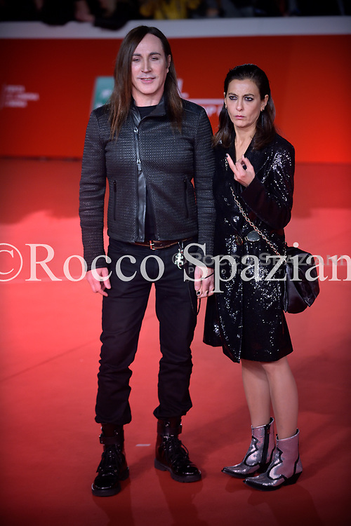 : Manuel Agnelli and Francesca Risi walk the red carpet ahead of the 'Noi Siamo Afterhours' screening during the 13th Rome Film Fest at Auditorium Parco Della Musica on October 23, 2018 in Rome, Italy