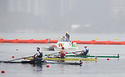 "Rio de Janeiro. BRAZIL. 2016 Men's single sculls semi final A/B left to right. NZL M1X, Mahe DRYSDALE, BEL M1X, Hannes OBRENO and Alan CAMPBELL Olympic Rowing Regatta. Lagoa Stadium,<br /> Copacabana,  ""Olympic Summer Games""<br /> Rodrigo de Freitas Lagoon, Lagoa.   Friday  12/08/2016 <br /> <br /> [Mandatory Credit; Peter SPURRIER/Intersport Images]"