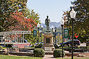 Statue of Captain Otway Burns in the town square of tiny Burnsville, North Carolina. Burnsville is the start of the Quilt Trail which honors handmade quilt designs of the rural Appalachian region.