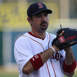March 14, 2011; Fort Myers, FL, USA; Boston Red Sox first baseman Adrian Gonzalez (28) before a spring training exhibition game against the New York Yankees at City of Palms Park.   Mandatory Credit: Derick E. Hingle