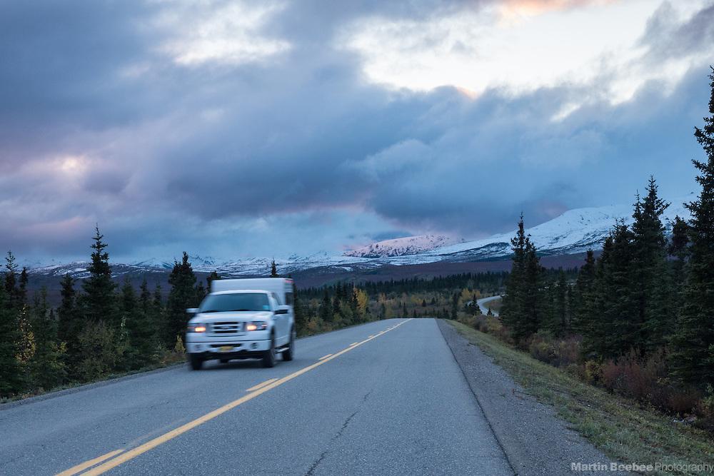 Camper driving on park road, Denali National Park, Alaska