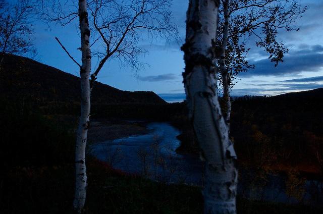 Dusk on an Arctic Finnish river.