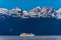 Princess Cruises ship Coral Princess sailing the Lynn Canal, the deeprest fjord in North America,  between Haines and Skagway, Alaska USA.