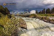 Stormy light and clouds over Spokane Falls in Spokane, Washington, USA