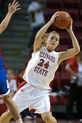 04 February 2006: Amber Shelton looks for a place to send the ball. The Indiana State Sycamores shook the Illinois State Redbirds from the nest with a 75-71 Victory.  There were 3,581 fans on hand, making the audience the  2nd largest women's basketball crowd ever in Redbird Arena on Illinois State University campus in Normal Illinois.