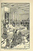 More than half the men in the hall jumped to their feet From the book ' Viking tales ' by Jennie Hall, Punlished in Chicago by Rand, McNally & co in 1902