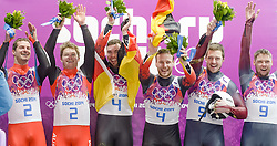 12.02.2014, Sliding Center Sanki, Krasnaya Polyana, RUS, Sochi, 2014, Rodeln, Doppelsitzer Herren, im Bild vl Silbermedaillen Gewinner Andreas Linger, Wolfgang Linger (AUT), Goldmedaillen Gewinner Tobias Wendl, Tobias Arlt (GER), Bronze Medaillen Gewinner Juris Sics, Andris Sics (LAT) // fl tr Silvermedalist Austria' s Andreas Linger and Wolfgang Linger, Gold Medallists, Germany' s Tobias Wendl and Tobias Arlt and Bronze Medallists, Latvia' s Juris Sics and Andris Sics celebrate during Mens Luge Doubles the Olympic Winter Games Sochi 2014 at the Sliding Center Sanki, Krasnaya Polyana, Russia on 2014/02/12. EXPA Pictures © 2014, PhotoCredit: EXPA/ Rolf Kosecki <br /> <br /> *****ATTENTION - OUT of GER*****