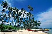 fishing boat on beach, Mabul Island, off Borneo, Sabah, Malaysia ( Celebes Sea )