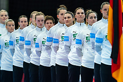Line up Germany with Emily Bolk of Germany, Julia Behnke of Germany during the Women's EHF Euro 2020 match between /Germany and Poland at Sydbank Arena on december 07, 2020 in Kolding, Denmark (Photo by RHF Agency/Ronald Hoogendoorn)