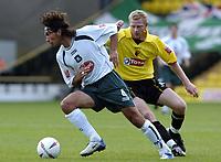 Fotball<br /> Foto: SBI/Digitalsport<br /> NORWAY ONLY<br /> <br /> Watford v Plymouth Argyle<br /> Coca-Cola Championship. 28/08/2004.<br /> <br /> David Frio breaks away from Brynjar Gunnarsson