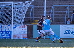 Forfar Athletic's Mark Hill scoring their third goal. Forfar Athletic 3 v 2 Raith Rovers, Scottish Football League Division One played 27/10/2018 at Forfar Athletic's home ground, Station Park, Forfar.