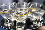 Opihr Gin at the Sail Aid UK charity dinner this evening at Land Rover BAR in Portsmouth, the home of Sir Ben Ainslie's America's Cup team. The Sail Aid UK charity was created following the devastating hurricanes that struck the Caribbean in September this year. Their mission is to help those Islands and their communities that were so tragically affected by the hurricanes to rebuild, restore, and regenerate their communities, be it through educational, health and welfare, building, or tourism promotion projects.<br /> Picture date: Saturday November 11, 2017.<br /> Photograph by Christopher Ison ©<br /> 07544044177<br /> chris@christopherison.com<br /> www.christopherison.com