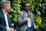 Kwadwo Owusu-Ofori from Satori Food Project at the Wisconsin Entrepreneurship Conference at Venue 42 in Milwaukee, Wisconsin, Tuesday, June 4, 2019.