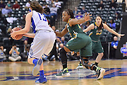 April 4, 2016; Indianapolis, Ind.; Keiahnna Engel guards Kellyn Schneider in the NCAA Division II Women's Basketball National Championship game at Bankers Life Fieldhouse between UAA and Lubbock Christian. The Seawolves lost to the Lady Chaps 78-73.