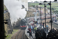 October 6, 2018 - Penzance, Cornwall, England - Flying Scotsman arriving at the end of the line in Penzance Cornwall  (Credit Image: © Mark Hemsworth/London News Pictures via ZUMA Wire)