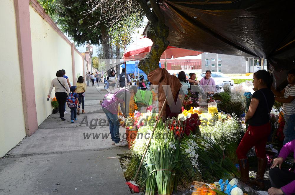 Metepec, México (Noviembre 01, 2016).- Por la celebración de Día de Muertos vendedores de flores mejoraran sus ventas, familias que acuden a los panteones a arreglar las tumbas de sus difuntos adquieren desde la flor de cempasúchil, nube, mano de león, entre otras.  Agencia MVT / José Hernández.