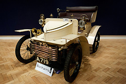 © Licensed to London News Pictures. 01/11/2012. London, UK. Owned from one family since new, the worlds oldest known surviving Vauxhall motor car, a 1903 Vauxhall 5hp Two-seater Light Car (est. GB£60,000-80,000), is seen at Bonham's New Oxford Street auction house ahead of a veteran car sale this Friday (02/11/12).  The annual auction entitled 'Veteran Motor Cars and Related Automobilia', takes place the on Friday the 2 November, the day before the Bonham's sponsored 'London to Brighton Veteran Car Run' an event for which some of the cars are already registered to enter. Photo credit: Matt Cetti-Roberts/LNP