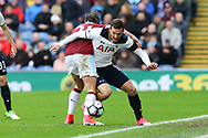 Vincent Janssen of Tottenham Hotspur battles for the ball with George Boyd of Burnley. Premier League match, Burnley v Tottenham Hotspur at Turf Moor in Burnley , Lancs on Saturday 1st April 2017.<br /> pic by Chris Stading, Andrew Orchard sports photography.