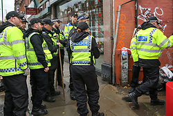© Licensed to London News Pictures. 07/11/2018. London, UK. British Transport Police search team enters the railway fields near Finchley Road and Frognal overground station. A man in his teens was stabbed on Billy Fury Way off Lithos Road in West Hampstead on Tuesday evening. Photo credit: Dinendra Haria/LNP