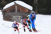 Dominik Windisch (ITA) leads the pack in the Men 15 Km during the IBU Biathlon World Championships, Sunday, Feb. 23, 2020, in Antholtz-Anterselva, Italy. (Pierre Teyessot-ESPA-Images/Image of Sport)