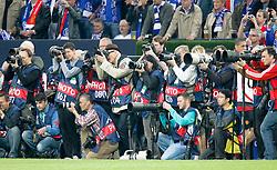 26.04.2011, Veltins Arena, Gelsenkirchen, GER, UEFA CL, Halbfinale Hinspiel, Schalke 04 (GER) vsManchester United (ENG), im Bild eine Gruppe Fotografen // during the UEFA CL, Semi Final first leg, Schalke 04 (GER) vs Manchester United (ENG), at the Veltins Arena, Gelsenkirchen,  26/04/2011EXPA Pictures © 2011, PhotoCredit: EXPA/ nph/  Scholz       ****** out of GER / SWE / CRO  / BEL ******