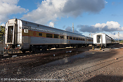 The Grand Canyon Railroad in Williams, AZ during the Motorcycle Cannonball Race of the Century. Stage-12 ride from Page, AZ to Williams, AZ. USA. Thursday September 22, 2016. Photography ©2016 Michael Lichter.