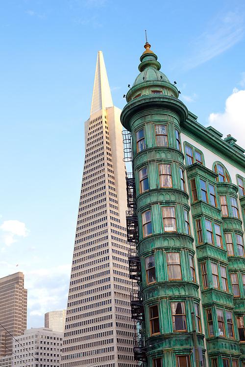 San Francisco, California, United States - Columbus Tower and Transamerica Pyramid at Columbus Avenue.