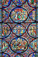 Medieval stained glass Window of the Gothic Cathedral of Chartres, France. A UNESCO World Heritage Site.. .<br /> <br /> Visit our MEDIEVAL ART PHOTO COLLECTIONS for more   photos  to download or buy as prints https://funkystock.photoshelter.com/gallery-collection/Medieval-Middle-Ages-Art-Artefacts-Antiquities-Pictures-Images-of/C0000YpKXiAHnG2k
