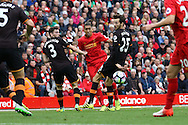Roberto Firmino of Liverpool tries a shot. Premier League match, Liverpool v Hull City at the Anfield stadium in Liverpool, Merseyside on Saturday 24th September 2016.<br /> pic by Chris Stading, Andrew Orchard sports photography.