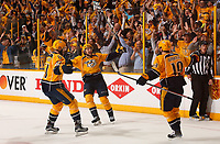 NASHVILLE, TN - MAY 07:  Austin Watson #51 and Filip Forsberg #9, congratulate teammate Calle Jarnkrok #19 on scoring an open net goal against the St. Louis Blues in the third period of Game Six of the Western Conference Second Round during the 2017 NHL Stanley Cup Playoffs  at Bridgestone Arena on May 7, 2017 in Nashville, Tennessee.  (Photo by Frederick Breedon/Getty Images)