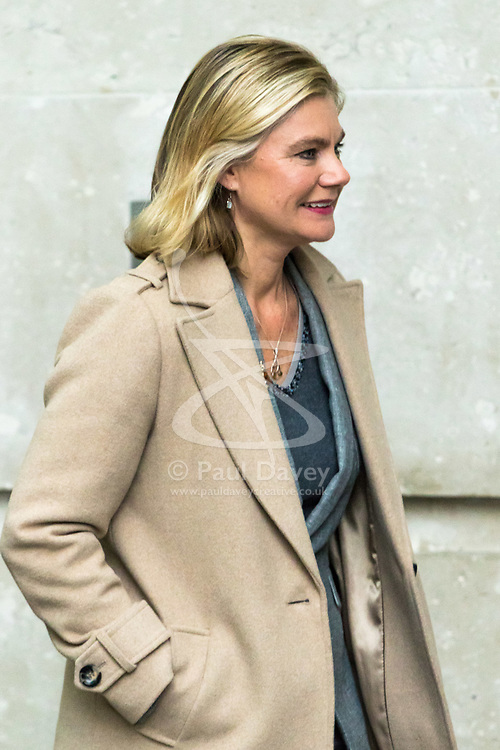 London, December 03 2017. Education Secretary Justine Greening leave the Andrew Marr Show at the BBC's New Broadcasting House in London.. © Paul Davey