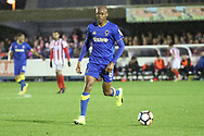 AFC Wimbledon midfielder Jimmy Abdou (8) dribbling during the The FA Cup match between AFC Wimbledon and Lincoln City at the Cherry Red Records Stadium, Kingston, England on 4 November 2017. Photo by Matthew Redman.