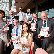 31.05.2018.          <br /> Limerick and Clare Education Training Board launch Youth Work Plan 2018-2021 at Thomond Park Limerick with Pat Breen TD, Minister of State with special responsibility for Trade, Employment, Business, EU Digital Single Market and Data Protection, Clare. <br /> <br /> Pictured at the event were, Cora Foley, LCETB, George O'Callaghan, LCETB, Seamus Bane, Cillian Hickey, Nicole Secas, Jackie Dwane, Sean McMahon and Cllr. Kieran O'Hanlon. Picture: Alan Place