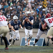 NEW HAVEN, CONNECTICUT - NOVEMBER 18: Quarterback Kurt Rawlings #6 of Yale in action during the Yale V Harvard, Ivy League Football match at the Yale Bowl. Yale won the game 24-3 to win their first outright league title since 1980. The game was the 134th meeting between Harvard and Yale, a historic rivalry that dates back to 1875. New Haven, Connecticut. 18th November 2017. (Photo by Tim Clayton/Corbis via Getty Images)