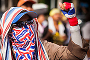 16 MAY 2014 - BANGKOK, THAILAND:  A protestor wearing a mask decorated with the Thai flag with other People's Democratic Reform Committee (PDRC) members surrounded the Thai Parliament complex Saturday to pressure the Thai Senate to select an interim Prime Minister to replace ousted former PM Yingluck Shinawatra. The Senate decided not to appoint an interim PM of their own and announced a meeting with the current interim Prime Minister. The protestors left the parliament complex and threatened to return in larger numbers if the Senate doesn't act. The Senate appointment of an acting PM could plunge Thailand into chaos since there is already an interim Prime Minister from the ruling Pheu Thai party.     PHOTO BY JACK KURTZ