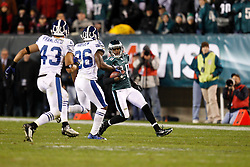Philadelphia Eagles wide receiver DeSean Jackson #10 carries the ball during the NFL Game between the Indianapolis Colts and the Philadelphia Eagles. The Eagles won 26-24 at Lincoln Financial Field in Philadelphia, Pennsylvania on Sunday November 7th 2010. (Photo By Brian Garfinkel)