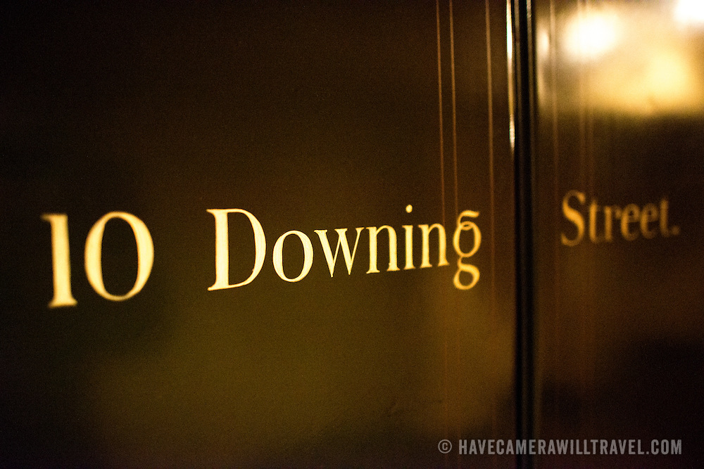 An old door of the Prime Minister's residence at 10 Downing Street on display at the Churchill War Rooms in London. The museum, one of five branches of the Imerial War Museums, preserves the World War II underground command bunker used by British Prime Minister Winston Churchill. Its cramped quarters were constructed from a converting a storage basement in the Treasury Building in Whitehall, London. Being underground, and under an unusually sturdy building, the Cabinet War Rooms were afforded some protection from the bombs falling above during the Blitz.