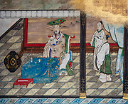 Wall art work. Kyoto Imperial Palace (Kyoto Gosho) was the residence of Japan's Imperial Family until 1868, when the emperor and capital were moved from Kyoto to Tokyo. Kyoto Gosho is within spacious Kyoto Imperial Park (Kyoto Gyoen National Garden) which also encompasses Sento Imperial Palace. The current Imperial Palace was reconstructed in 1855 after it had burnt down and moved around town repeatedly over the centuries. The complex is enclosed by long walls and has several gates, halls and gardens. The enthronement ceremonies of Emperors Taisho and Showa were held in the palace's main hall. Tokyo Imperial Palace is now used for enthronement ceremonies. The palace grounds (but not the buildings) can now be entered and explored without joining a tour and without any prior arrangements.