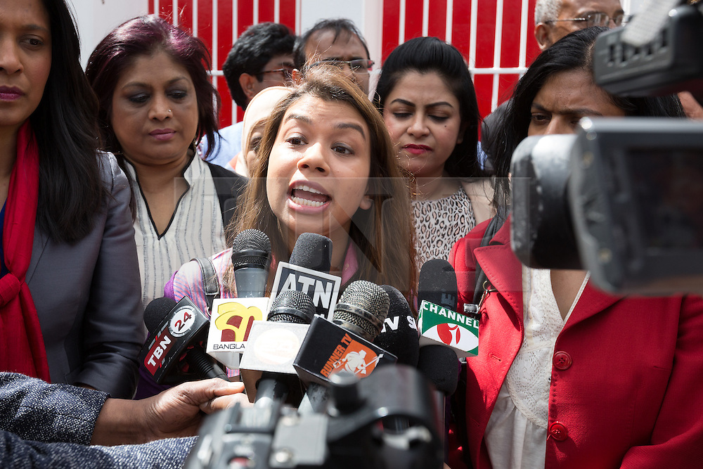 © Licensed to London News Pictures. 06/06/2015. London, UK. Tulip Siddiq speaking at a Labour Party rally for Tower Hamlets Mayoral candidate, John Biggs in Altab Ali Park in Tower Hamlets, east London. The three women Bangladeshi London Labour MPs (Rushanara Ali, Tulip Siddiq and Rupa Huq) attended the rally today with Labour Party supporters. Photo credit : Vickie Flores/LNP