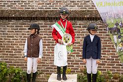 Podium L1-B, Verstappen Janne, Vlekken Pauline, Vanhaverbeke Pauline, De Pauw Lotte<br /> Nationaal Kampioenschap LRV <br /> Ponies Dressuur - Oudenaarde 2020<br />  03/10/2020