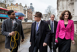© Licensed to London News Pictures. 04/02/2019. London, UK. Ian Duncan Smith (2-L) and Theresa Villiers (R) arrive at the Cabinet Office for a meeting of the Alternative Arrangements Working Group on Brexit. Photo credit: Rob Pinney/LNP