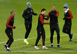 Fernando of Manchester City shares a joke with Jesus Navas during training - Mandatory by-line: Matt McNulty/JMP - 20/02/2017 - FOOTBALL - City Football Academy - Manchester, England - Manchester City v AS Monaco - UEFA Champions League Round of 16 First Leg