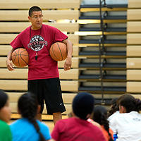 071614      Cayla Nimmo<br /> <br /> Adrian Peete stands in as coach for the basketball camp at Rehoboth Christian High School Wednesday morning.